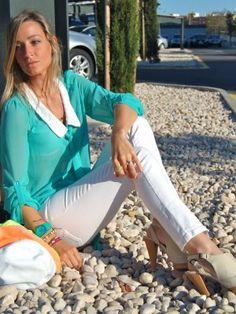 Issimo Outfit   Primavera 2012. Combinar Camisa-Blusa Azul turquesa/aguamarina momento, Cómo vestirse y combinar según Issimo el 10-5-2012