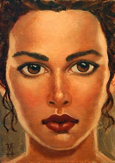 "BRUNETTE XV by Mollie Erkenbrack Oil ~ 7"" x 5"" (SOLD)"