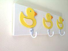 Yellow Rubber Ducky 3 Wall Hooks Unisex Bedroom Bathroom Wall Decor Kids Room Decor