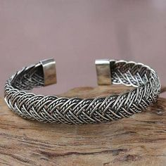 Balinese Braided Sterling Silver Cuff Bracelet - In Braids | NOVICA