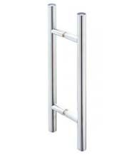 """The 12"""" contemporary Ladder Pull is great for glass doors such as shower doors. It is available in polished chrome, brushed nickel, and oil rubbed bronze finishes to fit any decor; but it is the sharp, clean lines of this handle that give it a modern feel. It has a 8"""" center to center mounting. This glass door handle is made out of 3/4"""" diameter heavy brass tubing. For glass 5/16"""" to 1/2"""" thick."""
