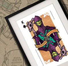Skeletor He-Man Playing Card Print A4 by BeastBoxDesigns on Etsy