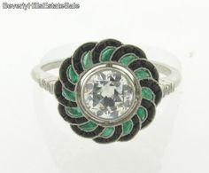Antique Art Deco Platinum .97C Diamond Emerald Black Onyx Flower Design Ring  #mimcomuse