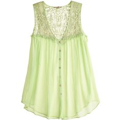 Calypso St. Barth Edenia Silk Lace Top ($65) ❤ liked on Polyvore featuring tops, shirts, tank tops, tanks, lace tops, lace tank, green top, embellished tank tops and green silk shirt