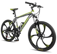Merax Finiss 26 Aluminum 21 Speed Mg Alloy Wheel Mountain Bike (Classic Gray&Green) Folding Mountain Bike, Mens Mountain Bike, Hardtail Mountain Bike, Mountain Bike Reviews, Best Mountain Bikes, Mountain Biking, Buy Bike, Bike Run, Bici Retro