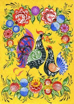Russian folk crafts. Gorodetskaya painting