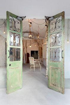 A Verdant Hair Salon in Japan ; love these doors!