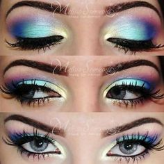 Colorful eye makeup!! I have done this one and it looks awesome!