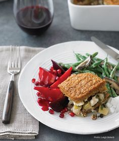 Pomegranate and Maple-Glazed Beets; Miso-Glazed Green Beans and Mushrooms