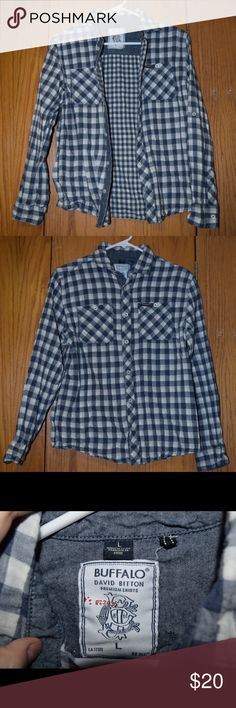 Flannel Style Shirt from Buffalo, checkered Flannel style shirt made from different material, super comfy and goes great with leggings and boots, made from 100% cotton, size Large but fits more like a medium Buffalo Tops Button Down Shirts