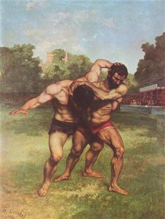 The Wrestlers - Gustave Courbet - Realism, 1853
