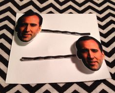 Nick Cage Bobby Pin Set by GeekOutFL on Etsy https://www.etsy.com/listing/236880580/nick-cage-bobby-pin-set