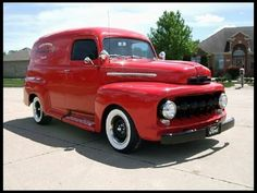 1951 Ford Red Panel Delivery.