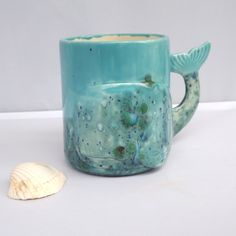 Multi Color Green and Blue Whale Mug Handmade Ceramic from my Charleston, SC Studio - pinned by pin4etsy.com