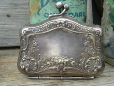 Antique Nickel Silver Repousse Coin Purse