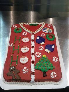 Ugly Christmas Sweater Cake - I absolutely need to make this for our next Christmas party.