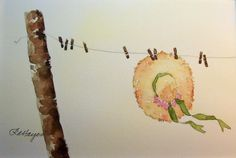 Sunbonnet on Country Clothesline original Watercolor Painting - RoseAnn Hayes - Etsy 18.00