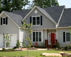 Vinyl Siding In Charcoal Grey Black Shutters Grey Roof