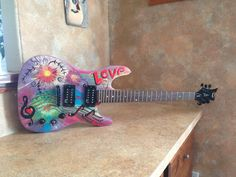 Custom Painted Electric Guitar Art by PamSkinnerArt on Etsy, $100.00