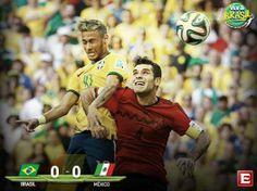 #VivaBrasil Termina el primer tiempo en el Estadio Castelão, marcador: Brasil 0-0 México #Mundial2014