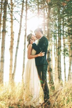 Bride and Groom Kiss in the Forest | Wedding Photography | sunset