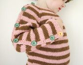 Hand Knitted Sweater - Button UP Stripey pullover - seamless alpaca sweater - made to order