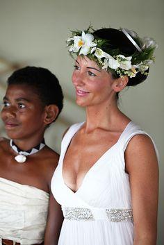 Fijian girl and bride at a destination wedding in Davui Island Fiji