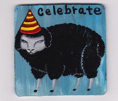 Celebrate being the black sheep acrylic painting Original Outsider Folk Art on wood  #NaivePrimitive