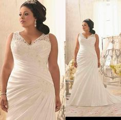 Discount 2014 New Fashion Beaded V Neckline Soft Satin Ruffle Pleated Gown Lace Plus Size Bridal Wedding Dresses Gown Arabic Online with $138.54/Piece | DHgate
