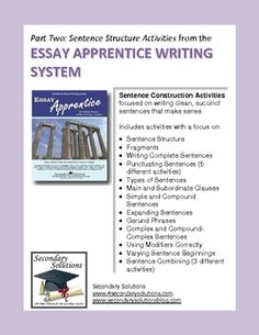 These Sentence Building Activities for struggling writers come directly from the Essay Apprentice Writing System.  $