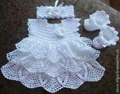 Crochet white, baby dress