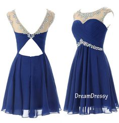 #homecoming dress #royal blue homecoming dress #short dress #open back dress