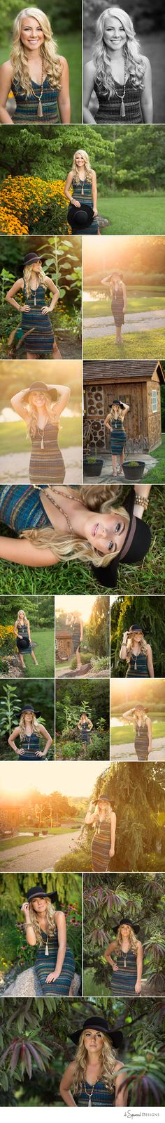 d-Squared Designs St. Louis, MO Senior Photography. Senior girl summer session. Golden hour. Senior with hat. Hat outfit. Pretty girl.