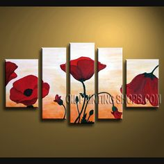 Stunning Wall Decorating Ideas Hand-Painted Art Paintings For Bath Room Poppy Flower. This 5 panels canvas wall art is hand painted by Bo Yi Art Studio, instock - $155. To see more, visit OilPaintingShops.com