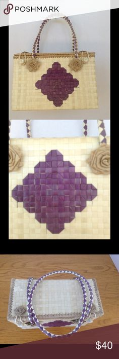 """Authentic Micronesian Handbag Handmade of bleached palm and coconut trees from remote islands in Micronesia. The bag is unique and VERY CUTE! Unlined interior that will hold all your essentials. Dimensions are: Width = 9"""", height = 6"""", depth = 4"""". Bags"""