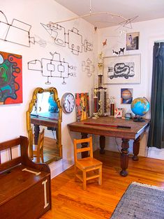 Wire sculptures.... Two Artists Make a Gallery of Their Home In Upstate New York   Design*Sponge