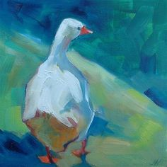 "Daily Paintworks - ""Green Duck"" - Original Fine Art for Sale - © Joy Nieuwenhuys"
