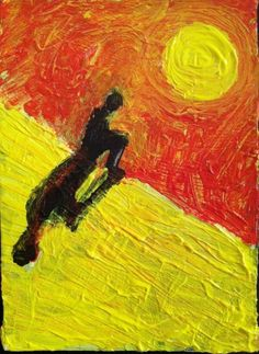 """""""HELIOCENTRIC  #2""""  abstract,   original art,ACEO  jack larson 3.5""""x2.5"""" #Abstract"""
