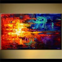 Abstract art by Osnat Tzadok - bold colorful red blue and yellow abstract