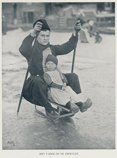Volendam,met vader op de Prikslede by janwillemsen,