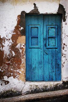Pretty blue door in Lagos, Portugal