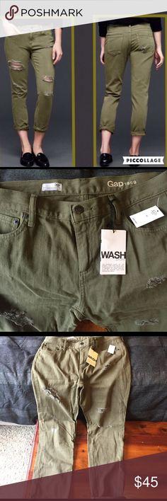 Gap Girlfriend army green destroyed jean New!! Never worn. GAP Jeans