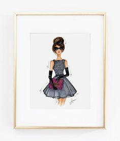 Fashion Illustration Print Modern Holly 8x10 by anumt on Etsy