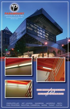 This week's application photos are from the Seattle Central Library, located in Seattle WA. Paramount's A1 Series Aerolux fixtures (painted in a special Platinum color) were utilized in the stairwells, and our Wet Location C0 & C2 Series Craft Lites were used in other areas of this architecturally stunning building.  Visit us at www.paramountlighting.com