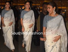 For the promotions of Sui Dhaaga, Anushka Sharma wore white handloom cotton saree paired with blue and white checkered blouse. She complemented her look with a pair of white sandals, silver jewelry and a sleek ponytail!