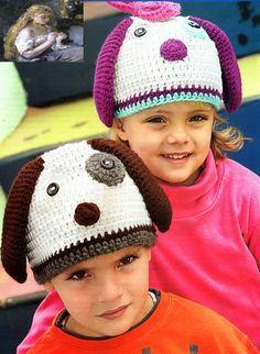 tejidos artesanales en crochet: gorro perrito tejido en crochet