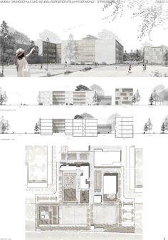 Result: renovation of primary school and new construction of citizen … competitionline - Nose Architecture Sketchbook, Architecture Panel, Architecture Graphics, Concept Architecture, Architecture Design, Sections Architecture, School Architecture, Presentation Board Design, Architecture Presentation Board