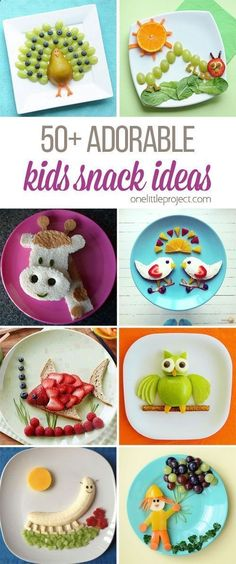 These snack ideas are ADORABLE! Some people are so clever! I never would have thought of all of these amazing food art ideas, but they really are creative!http://onelittleproject.com/adorable-kids-snack-ideas/