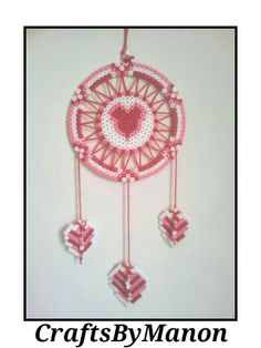Love dreamcatcher made of perler/hama beads - CraftsByManon