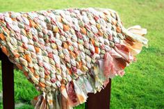 Old bed sheet turned into a woven rag rug.